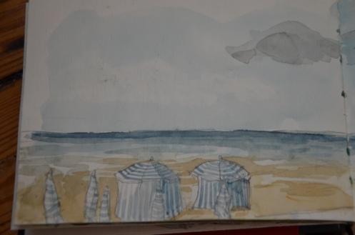 La plage de Trouville, à l'aquarelle