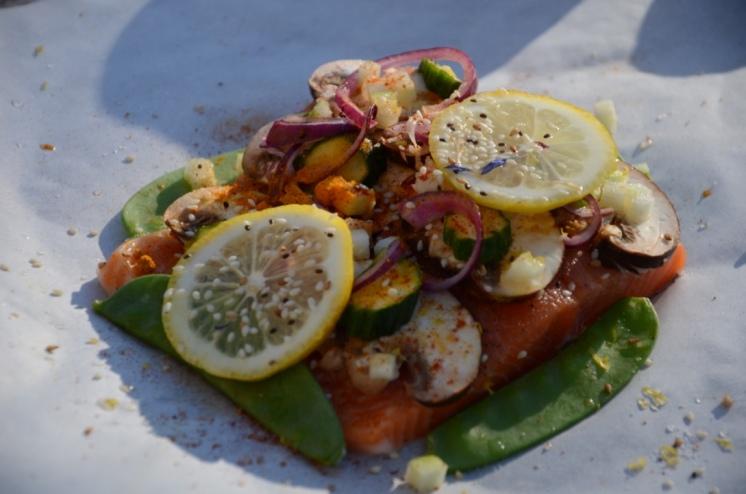 Le saumon en papillote: l'une des futures recettes des semaines légères de Sophie!